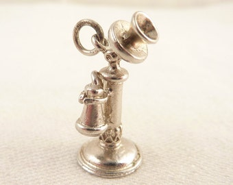 SALE ---- Vintage Sterling Old Fashioned Telephone Charm