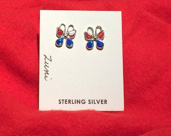 Authentic Native American sterling silver, blue and orange cultured opal butterfly earrings