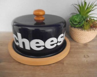 Vintage Enamel Cheese Dome With wood base ~ Made in Poland ~ Large Blue and white enamelware