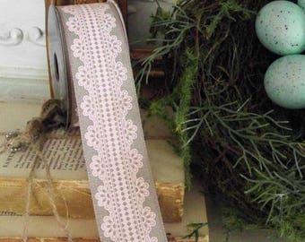 Blush Lace Design Ribbon, Unwired Ribbons, Shabby and Chic Ribbons, Farmhouse Ribbons, Wreath Supplies, Spring Ribbons, Pink Ribbons, Lace