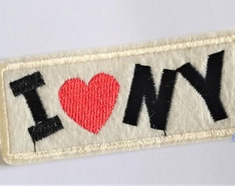 I Love NY patch 9 cm fusible embroidered badge
