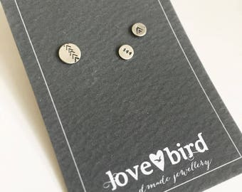 Silver Trail Studs - Set of 3 silver stamped studs