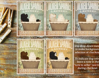 Cocker Spaniel dog laundry basket company laundry room artwork signed artists print by stephen fowler geministudio
