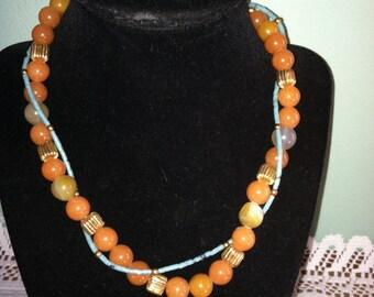 orange quartz and turquoise necklace