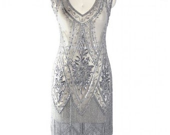 Silver Beaded Vintage Flapper 1920's Wedding Dress,The Great Gatsby, Downton Abbey, Vintage Bride, Boudoir, Charleston, ~