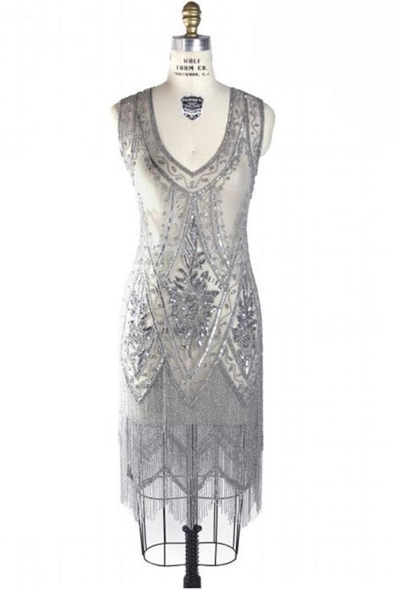 Silber Perlen Jahrgang Flapper 20er Jahre Hochzeitskleid der