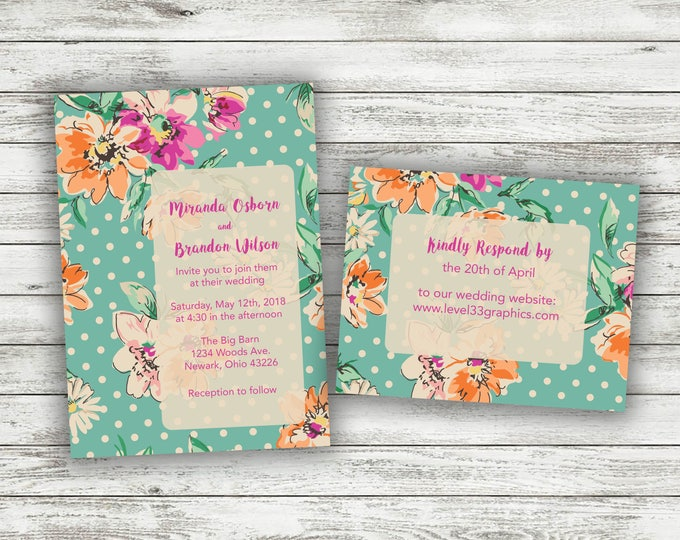 Watercolor Flowers Wedding Invitation, Wedding Invitations, Affordable Wedding Invitations, Rustic Wedding Invitation, Wedding Invites