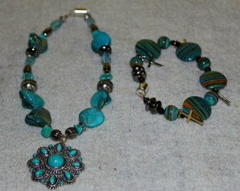 Turquoise Sky Jewelry Set- Necklace & Bracelet