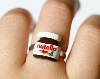 Nutella ring jewelry, kawaii Nutella inspired, Polymer clay chocolate miniature food