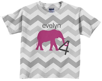 Pink Elephant Shirt, Personalized Girls Chevron Birthday Number Tshirt