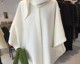 white pure boiled wool shawl poncho