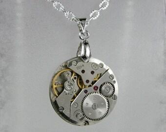 Watch movement  Steampunk   Pendant   ,  Steampunk Jewelry , Steampunk Jewelry , Clockwork Pendant