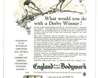 Austin Motor Car 1920s Advert, England Bodywork, Horse Racing, 1920s Derby, 1920s Classic Advert, Vintage Advert, Vintage Motoring