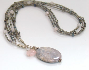 Beaded Triple Chain Gray Agate Pendant, Seed Beads Czech Glass Rose Quartz Pearls, Original Polished Pendant Design, Easy Front Hook