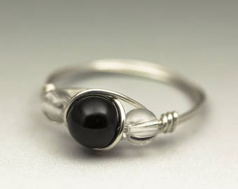 Black Schorl Tourmaline & Clear Crystal Quartz Gemstone Sterling Silver Wire Wrapped Ring - Made to Order, Ships Fast!