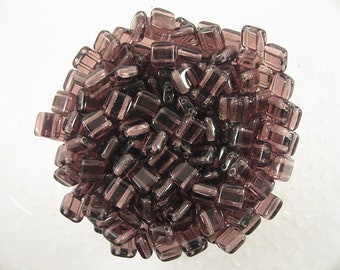 30 Amethyst 6mm square Tile beads