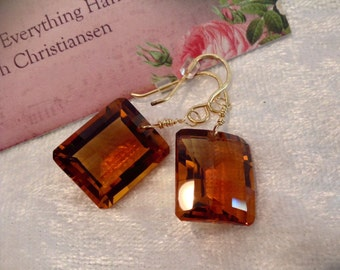VENTE or boucles d'oreilles Cognac Quartz whisky couleur 14k Gold Filled fils
