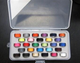 Bobbin Box with 28 Assorted Color Bobbins