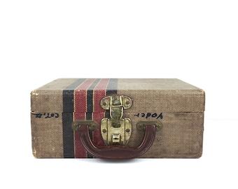 Vintage Tweed Suitcase Small Vintage Suitcase Travel Suitcase Small Vintage Luggage Suitcase Tweed 1950s