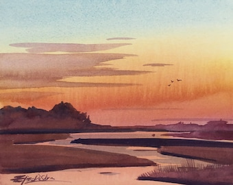 Original Watercolour Painting Art 'Sunset in the Marshes' by Elise De Silva