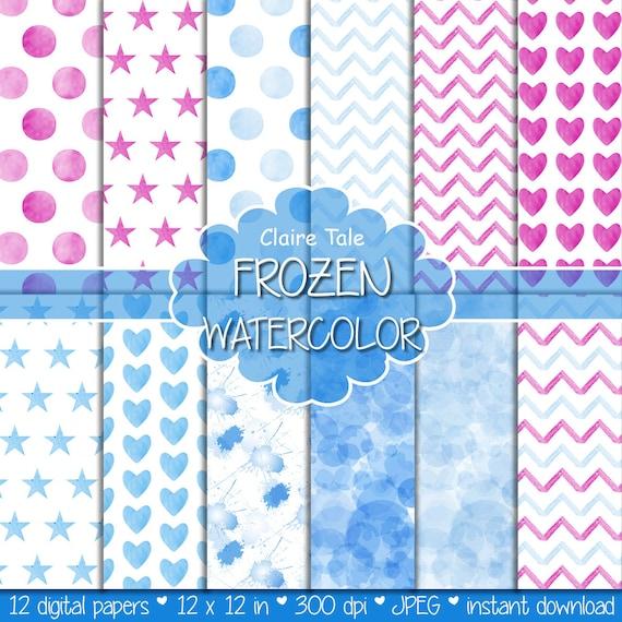 "Watercolor / watercolour digital paper: ""FROZEN WATERCOLOR"" with watercolor polkadots, stars, hearts, splash, chevron in pink and blue"
