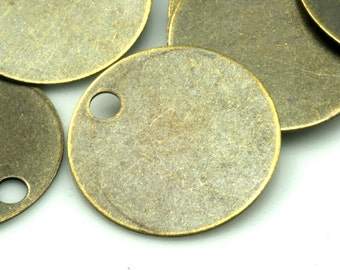 circle tag charms ,antique brass tone brass 20 mm findings 527AB-120