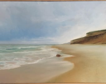 Off season beach , oil on canvas original painting