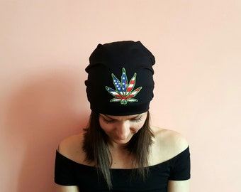 POT LEAF BEANIE Hat Festival outfits 2018 Black Slouchy Beanie Beanie Hat Festival Outfit Black Beanie Hat American Flag Hat Us Flag
