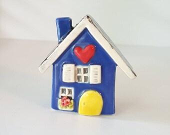 Cobalt Blue Clay House, Whimsical Ceramic Fairy House, Gnome Home, Fairy Garden or Terrarium Decoration