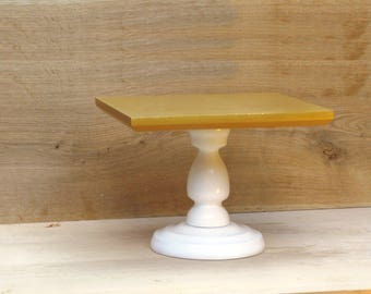 Custom Size Square White Cake Stand,white wooden cake holder,wooden rustic stand,white wedding stand,gold cake pedestal,gold cupcake stand