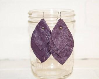 """3 1/2"""", recycled, purple feather earrings, leaf earrings, boho earrings, dangle earrings, feather earrings, tassel earrings, stacylynnc"""