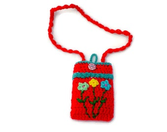 Crochet Phone Case with Colorful Flowers, Neck or Cross Body Strap, Messenger Mobile Purse, Cotton or Acrylic Yarn, Cute Mother's Gift