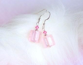 Pink Crystal Earrings, Glass Square Earrings, Silver Foil Glass Earrings, Spring Jewelry, Swarovski Crystal Earrings, Gifts for Women Her