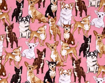 Timeless Treasures I Love Dogs Collection Pink Chihuahuas Fabric - 1 yard