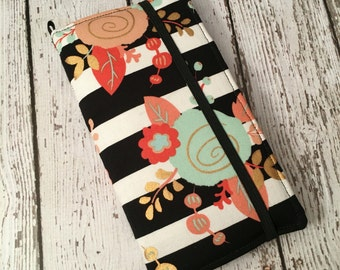 Samsung Galaxy Note, Galaxy Plus,,  iPhone Plus wallet case with removable gel case - stripes and floral