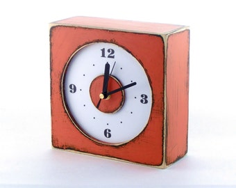 Wall clock orange, Wooden Rusty clock, Wall hanging clock orange, Square Tangerine wall clock, Spring Orange decor, Mothers day gift