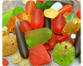 Sea Glass, Acapulco Bead Mix and Pendants Exclusive at Dream Girl Beads, Loose Bead Mix,Cultured, Sand Dollar, Shell