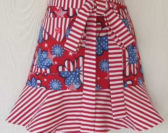 July 4th Patriotic Apron, American Flag Apron, Red White and Blue, Stars and Stripes, Half Apron, Waist Apron, KitschNStyle