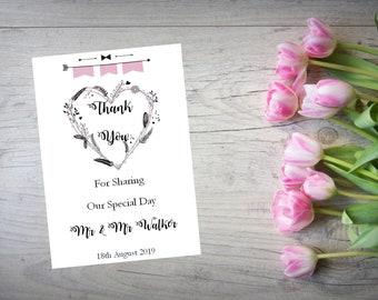 Personalised Wedding Thank You Cards with Matching Envelopes Pack Of 10 TY123