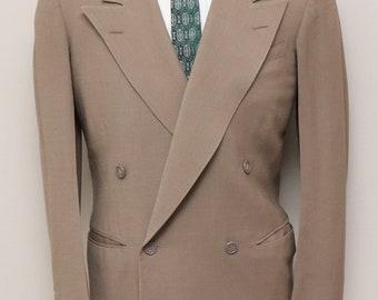 1940s men's tan wool double breasted blazer