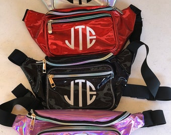 Monogrammed Holographic Fanny Pack