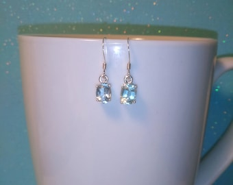 Aquamarine Dangle Earrings, Natural Faceted Blue Aquamarine 7x5mm Oval Earrings