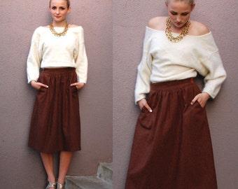 Vintage M Full Below the Knee Midi Skirt Chocolate Brown Wool