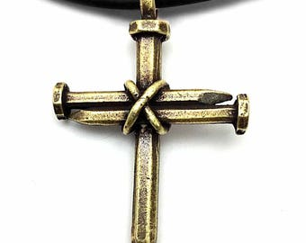 Antique Nail Cross Necklace in brass