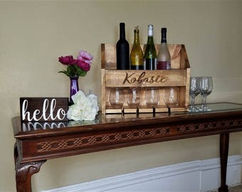 Custom Wine Rack / Personalized Wine Rack / Wine Glass Holder / Wood Wine Box / Custom Rustic Wine Rack / Wall Mounted Wine Rack Gift Set