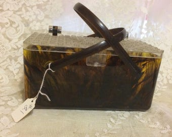 Faux Turtle and Clear Plastic Lucite Box Purse  #21