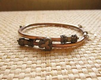 Antique Victorian Rose Gold GF Wedding Bracelet Hinged Bangle Bracelet Etruscan Details Lucky Clover