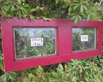 30 x 11-1/2 Vintage Window sash old DOOR TOP 2 pane  from 1960s