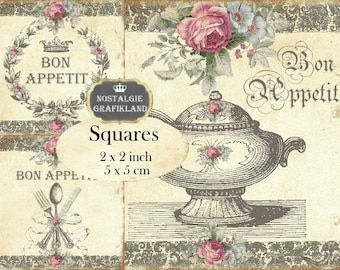 Bon Appetit Cutlery Menu Tureen Dinner Shabby Chic Squares 2x2 inch Instant Download digital collage sheet TW135