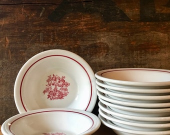 Cereal or Soup Bowls, Set of Four Pretty Red Floral Restaurant Ware by Jackson China ca. 1950s